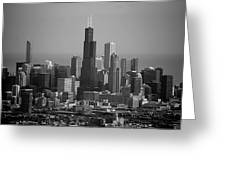 Chicago Looking East 02 Black And White Greeting Card