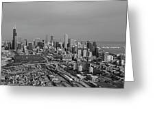 Chicago Looking North 01 Black And White Greeting Card