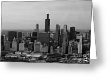 Chicago Looking West 01 Black And White Greeting Card