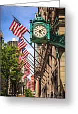 Chicago Macy's Clock And Chicago Theatre Sign Greeting Card
