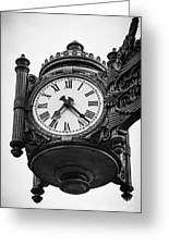 Chicago Macy's Marshall Field's Clock In Black And White Greeting Card