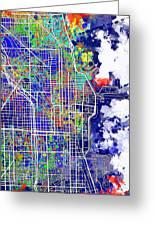Chicago Map Color Splash Greeting Card