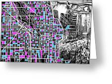 Chicago Map Drawing Collage 4 Greeting Card