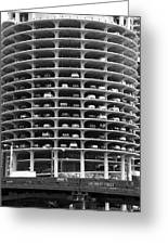 Chicago Marina City Parking Bw Greeting Card