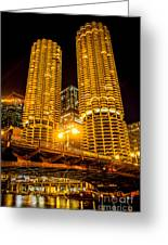 Chicago Marina City Towers At Night Picture Greeting Card