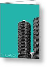 Chicago Skyline Marina Towers - Teal Greeting Card