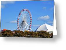 Chicago Navy Pier Ferris Wheel Greeting Card by Christine Till