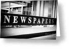 Chicago Newspapers Stand Sign In Black And White Greeting Card by Paul Velgos