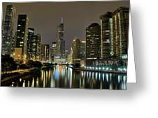 Chicago Night River View Greeting Card
