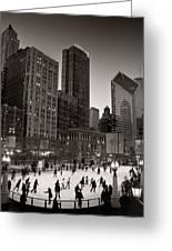 Chicago Park Skate Bw Greeting Card