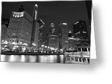 Chicago River At Night Black And White Greeting Card