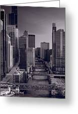 Chicago River Bridges South Bw Greeting Card