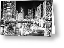 Chicago River Buildings At Night In Black And White Greeting Card