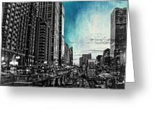 Chicago River Hdr Sc Textured Greeting Card