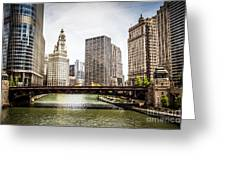Chicago River Skyline At Wabash Avenue Bridge Greeting Card by Paul Velgos