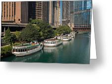 Chicago River Tour Boats Greeting Card