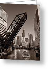 Chicago River Traffic Bw Greeting Card