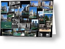Chicago River Walk Collage Greeting Card