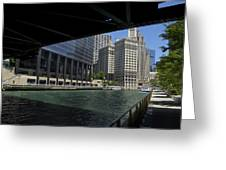 Chicago River Walk Going East 02 Greeting Card