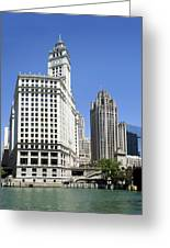 Chicago River Walk Wrigley And Tribune Greeting Card