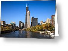 Chicago River With Willis-sears Tower Greeting Card