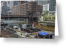 Chicago- Riverwalk Construction Greeting Card