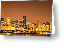 Chicago Skyine At Night Panoramic Photo Greeting Card