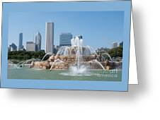 Chicago Skyline And Fountain Greeting Card