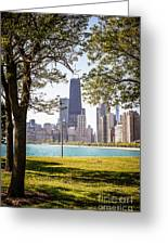 Chicago Skyline And Hancock Building Through Trees Greeting Card