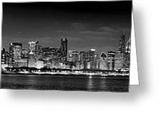 Chicago Skyline At Night Black And White Greeting Card by Jon Holiday