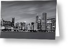 Chicago Skyline At Night Black And White Panoramic Greeting Card