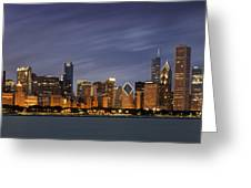 Chicago Skyline At Night Color Panoramic Greeting Card