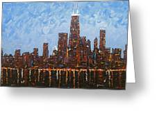 Chicago Skyline At Night From North Avenue Pier Greeting Card
