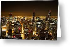 Chicago Skyline At Night I Greeting Card