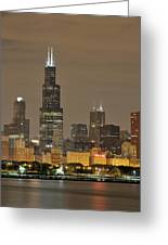Chicago Skyline At Night Greeting Card