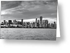 Chicago Skyline Black And White Greeting Card