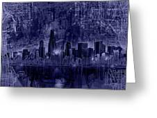 Chicago Skyline Blueprint Greeting Card