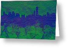 Chicago Skyline Brick Wall Mural 2 Greeting Card