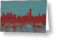 Chicago Skyline Brick Wall Mural  Greeting Card