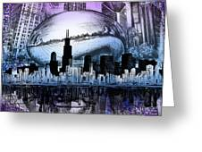 Chicago Skyline Drawing Collage 2 Greeting Card