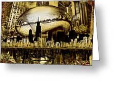 Chicago Skyline Drawing Collage 3 Greeting Card