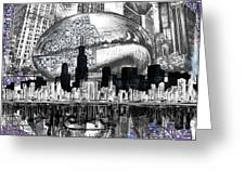Chicago Skyline Drawing Collage Greeting Card