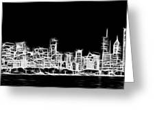 Chicago Skyline Fractal Black And White Greeting Card