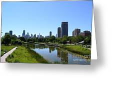 Chicago Skyline From Lincoln Park Zoo Greeting Card