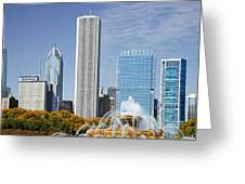Chicago Skyline From Millenium Park Iv Greeting Card