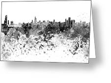 Chicago Skyline In Black Watercolor On White Background Greeting Card