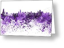 Chicago Skyline In Purple Watercolor On White Background Greeting Card