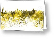 Chicago Skyline In Yellow Watercolor On White Background Greeting Card