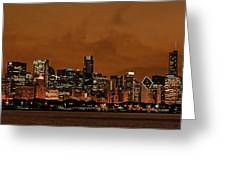 Chicago Skyline Panorama At Dusk Greeting Card