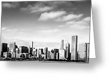 Chicago Skyline Panoramic Black And White Picture Greeting Card
